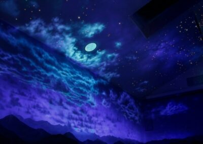 Custom Painted Murals- Night Sky with Clouds